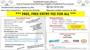 PFA 1st Annual End-of-Summer SB FREE Open Doubles Paddleball Tournament @ TBD